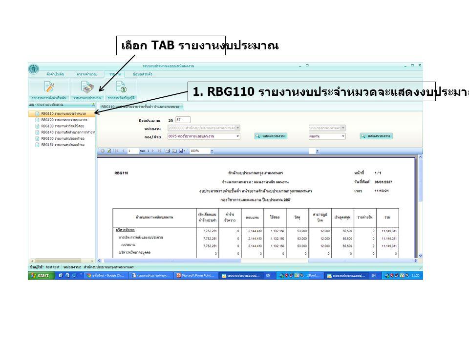 เลือก TAB รายงานงบประมาณ
