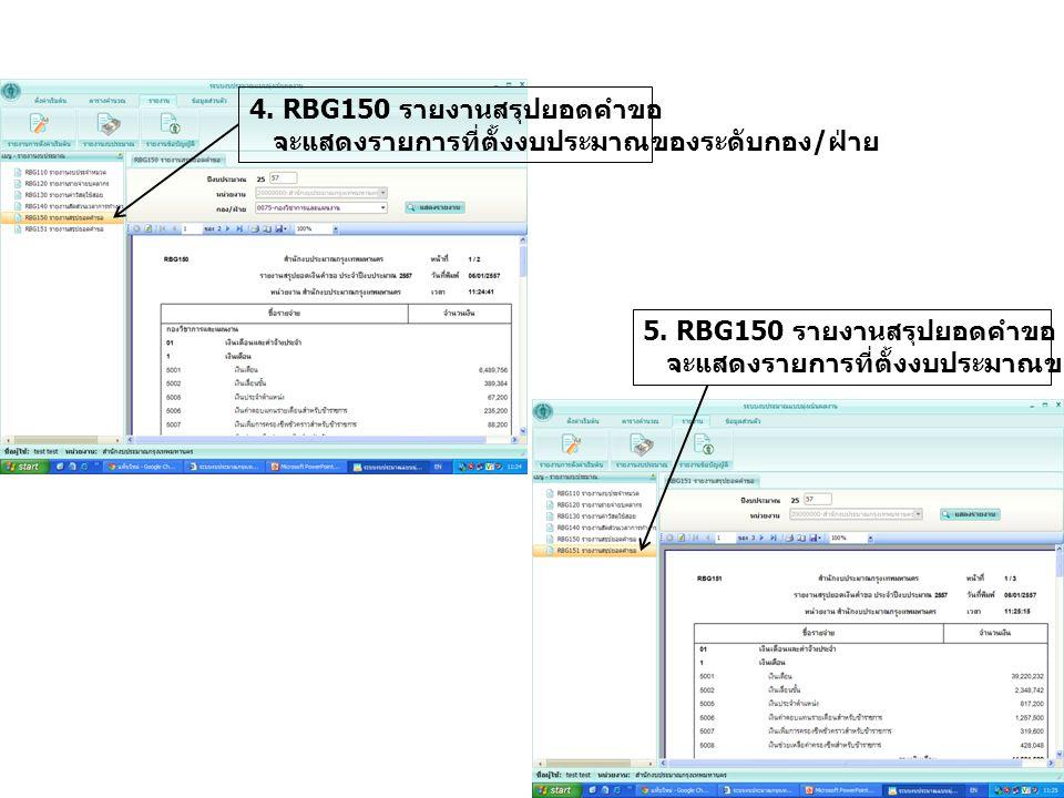 4. RBG150 รายงานสรุปยอดคำขอ