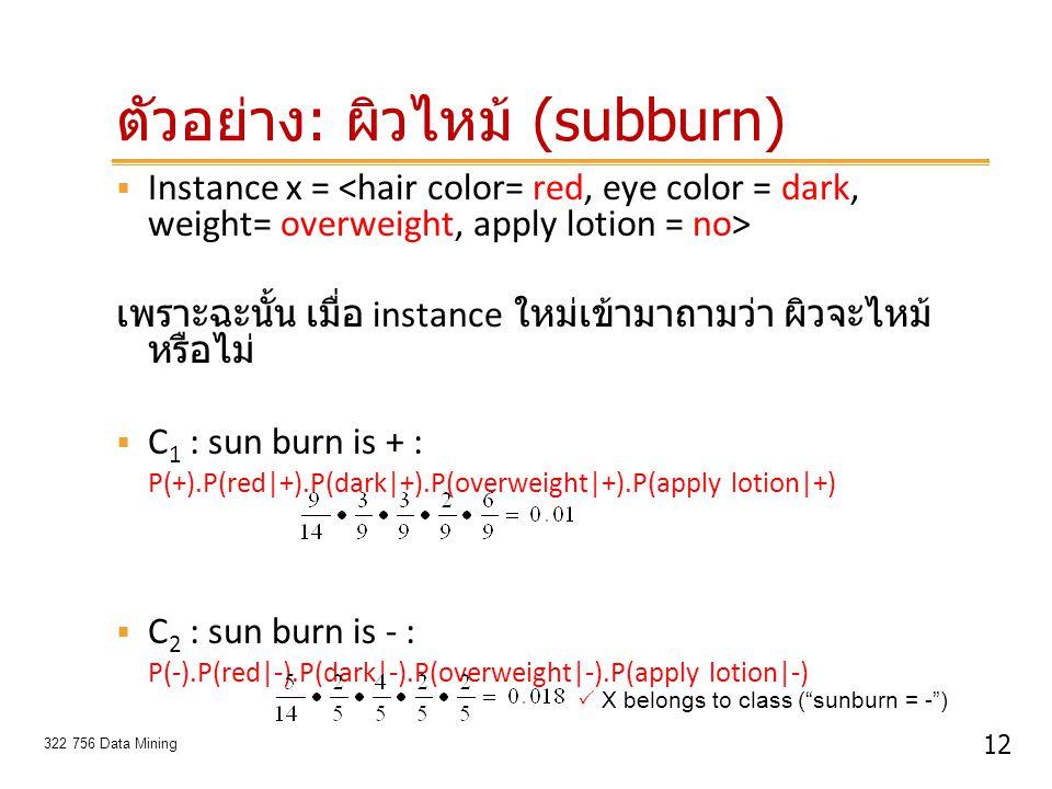 ตัวอย่าง: ผิวไหม้ (subburn)
