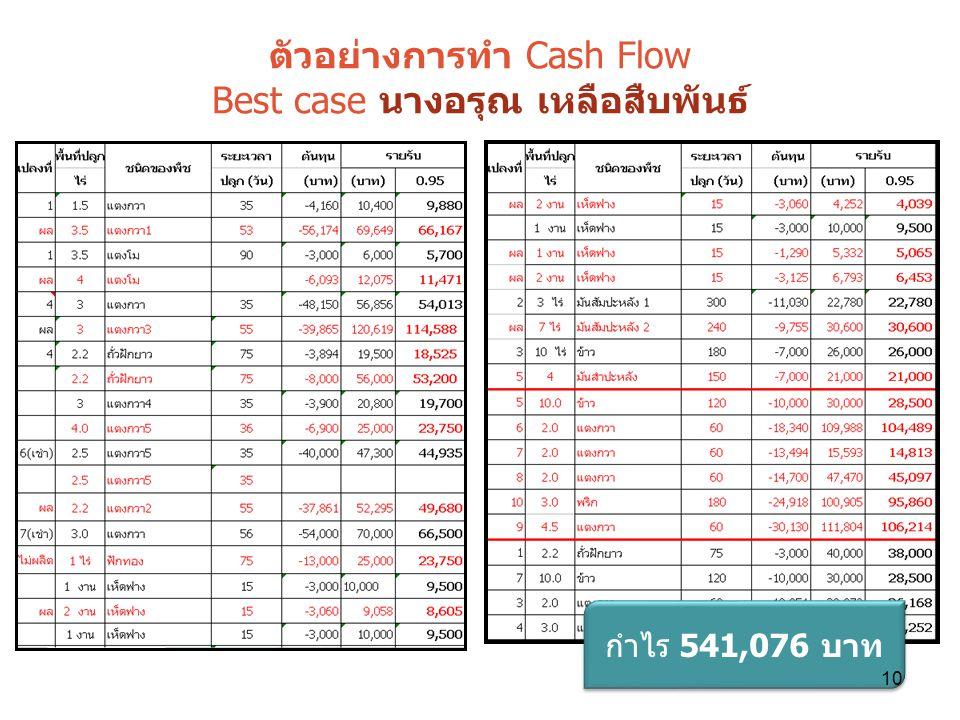 ตัวอย่างการทำ Cash Flow Best case นางอรุณ เหลือสืบพันธ์
