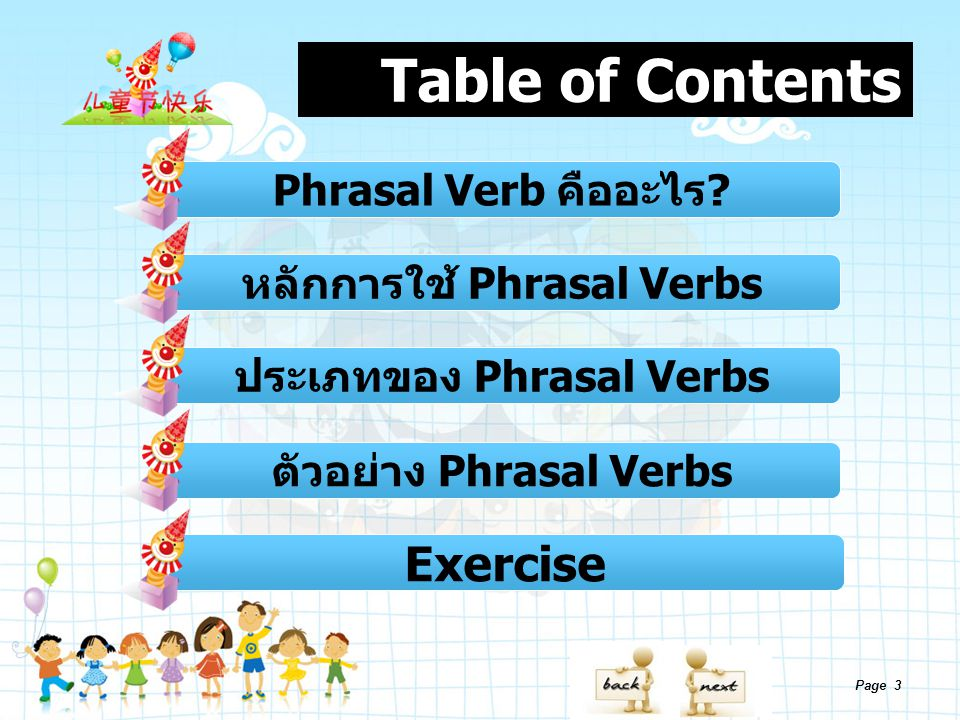 Table of Contents Exercise Phrasal Verb คืออะไร