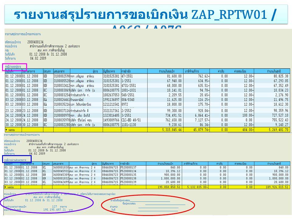 รายงานสรุปรายการขอเบิกเงิน ZAP_RPTW01 / A06C / A07C
