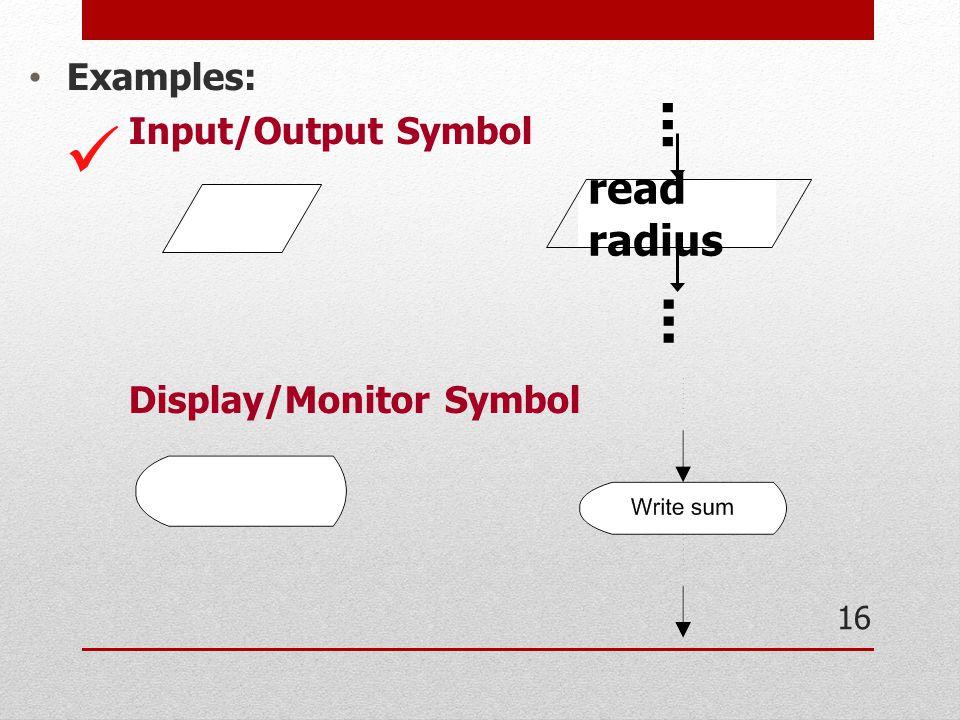  ... ... read radius Examples: Input/Output Symbol