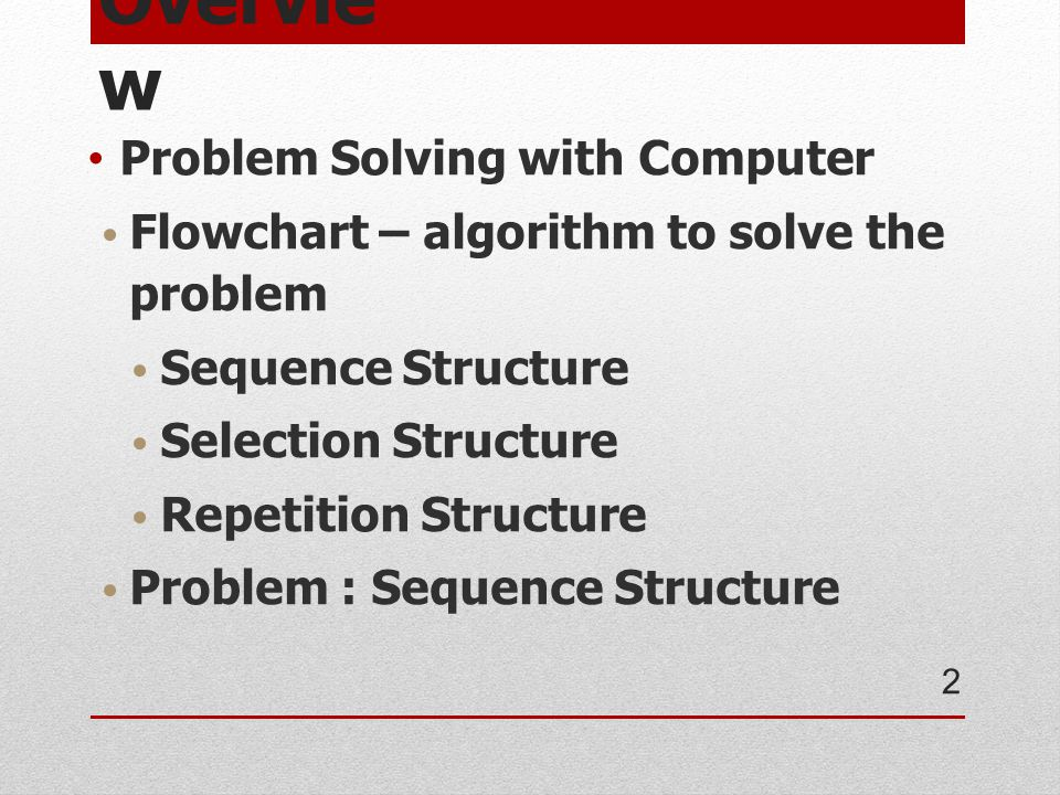 Overview Problem Solving with Computer