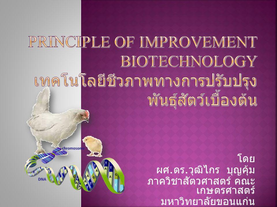 Principle of improvement biotechnology เทคโนโลยีชีวภาพทางการปรับปรุงพันธุ์สัตว์เบื้องต้น