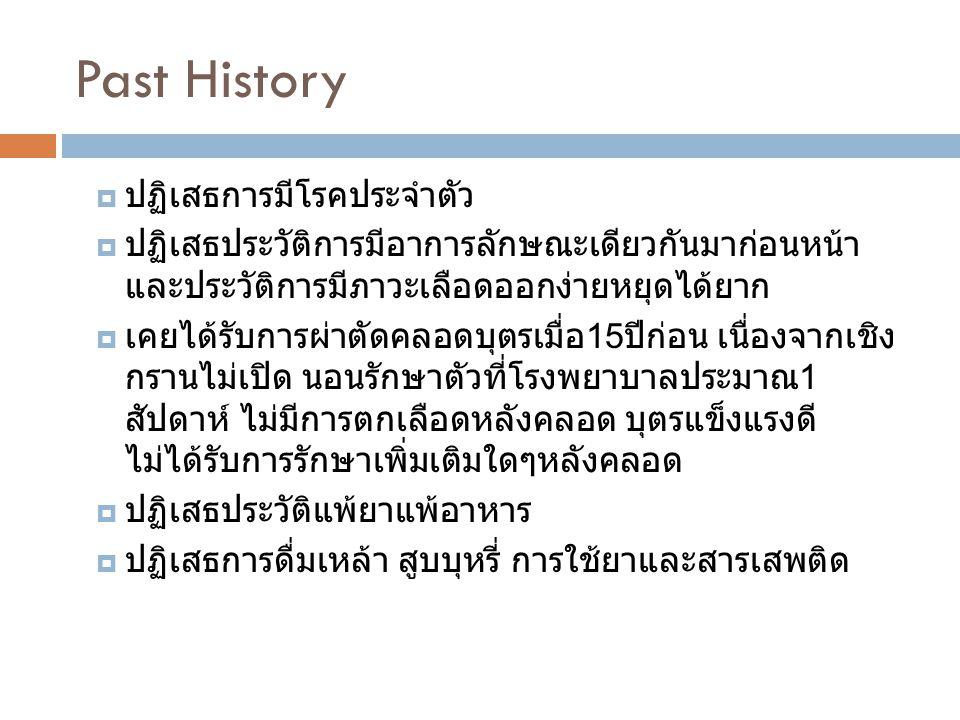 Past History ปฏิเสธการมีโรคประจำตัว
