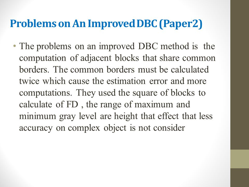 Problems on An Improved DBC (Paper2)