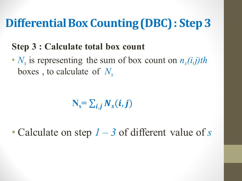 Differential Box Counting (DBC) : Step 3