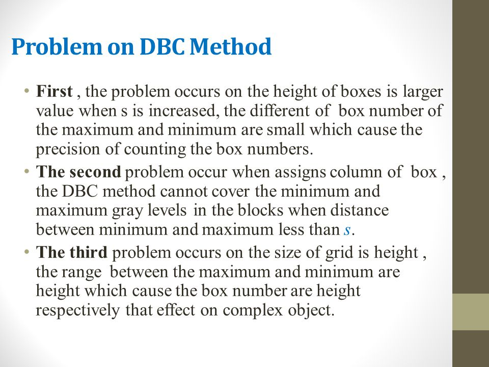 Problem on DBC Method