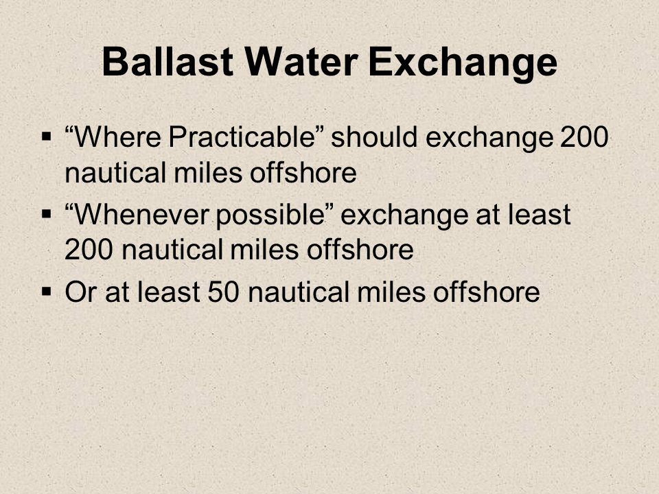 Ballast Water Exchange