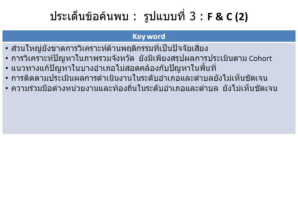 ประเด็นข้อค้นพบ : รูปแบบที่ 3 : F & C (2)