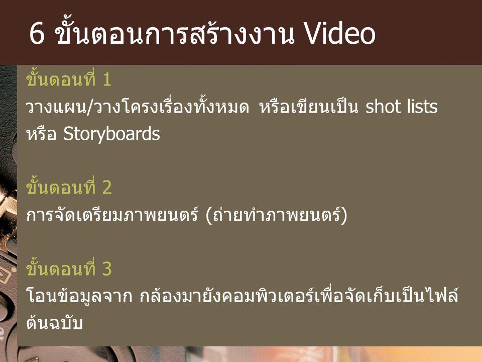 6 ขั้นตอนการสร้างงาน Video