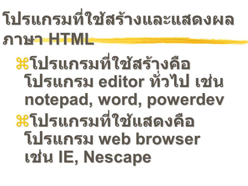 โปรแกรมที่ใช้สร้างและแสดงผลภาษา HTML