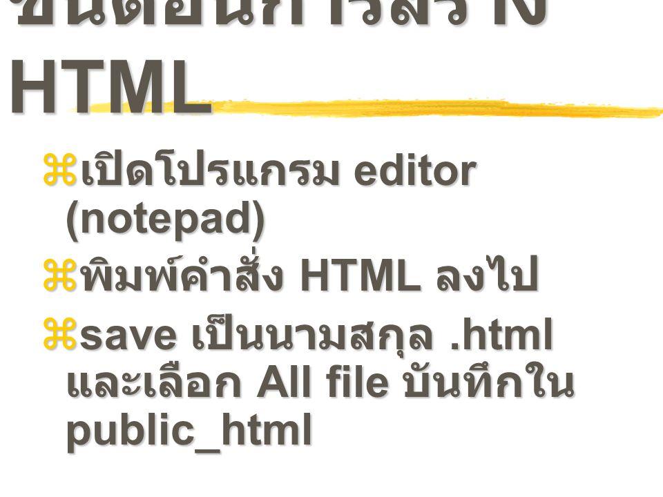 ขั้นตอนการสร้าง HTML เปิดโปรแกรม editor (notepad)