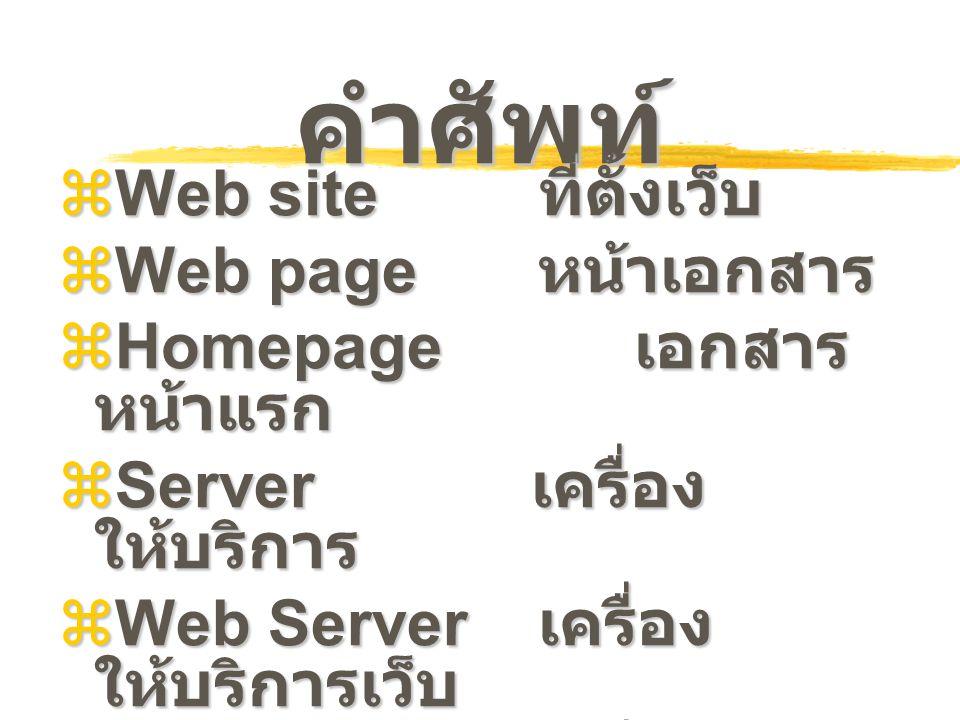 คำศัพท์ Web site ที่ตั้งเว็บ Web page หน้าเอกสาร