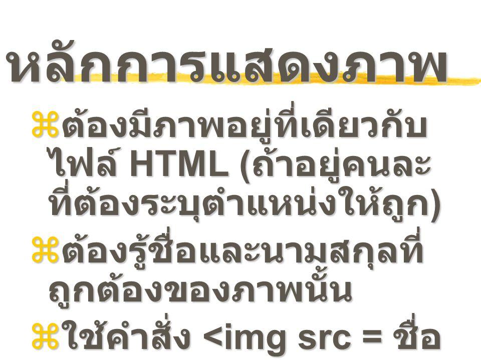 หลักการแสดงภาพ ต้องมีภาพอยู่ที่เดียวกับ ไฟล์ HTML (ถ้าอยู่คนละที่ต้องระบุตำแหน่งให้ถูก) ต้องรู้ชื่อและนามสกุลที่ถูกต้องของภาพนั้น.