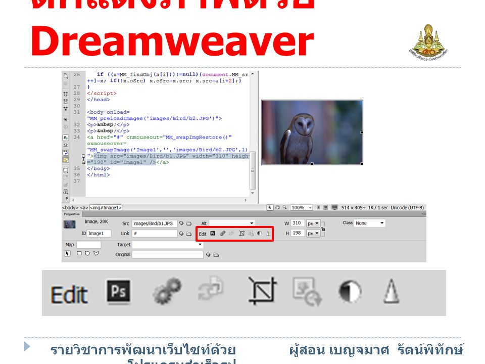 ตกแต่งภาพด้วย Dreamweaver