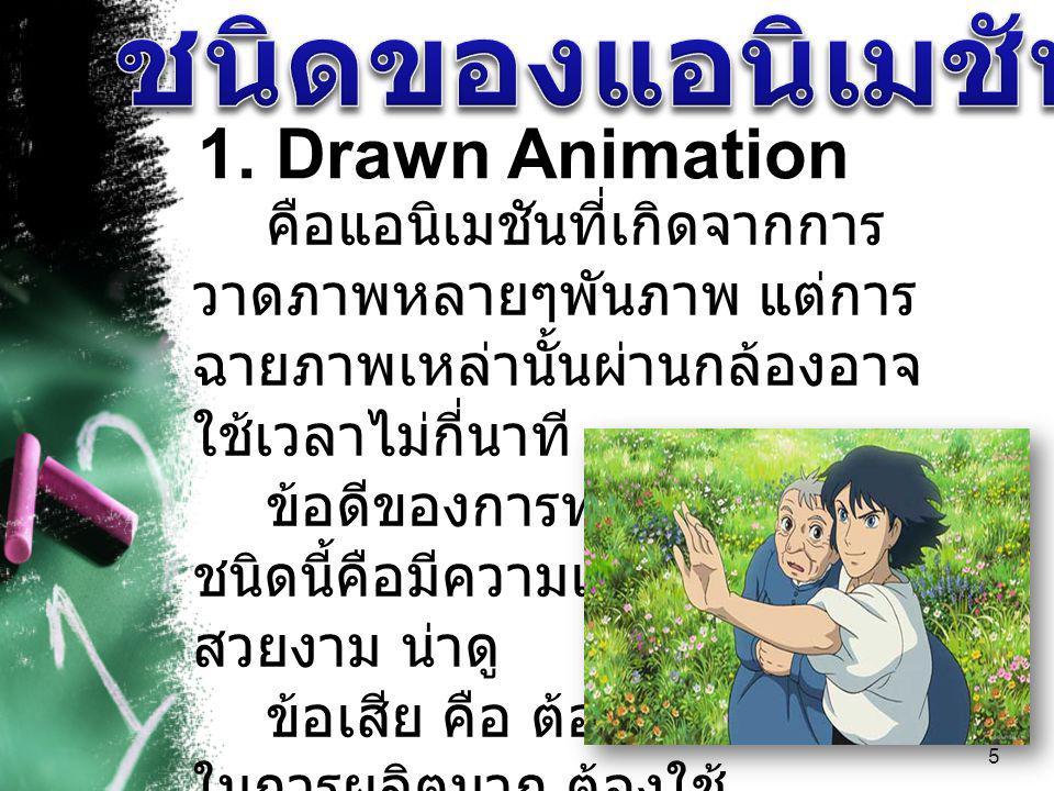 ชนิดของแอนิเมชัน 1. Drawn Animation