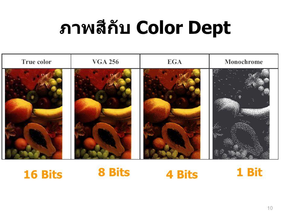 ภาพสีกับ Color Dept 8 Bits 1 Bit 16 Bits 4 Bits