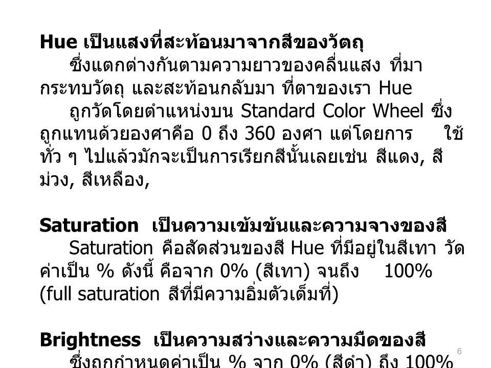 Hue เป็นแสงที่สะท้อนมาจากสีของวัตถุ