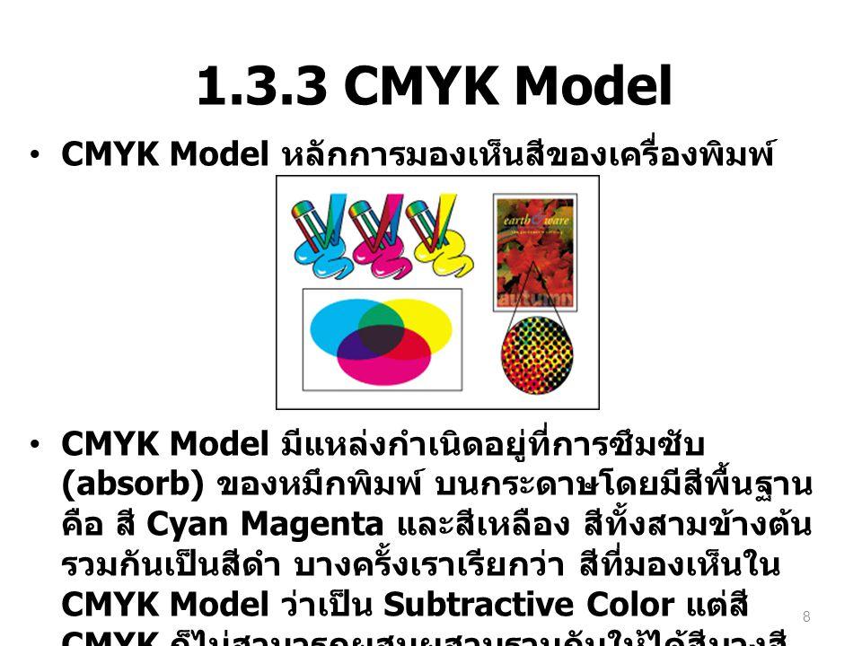 1.3.3 CMYK Model CMYK Model หลักการมองเห็นสีของเครื่องพิมพ์