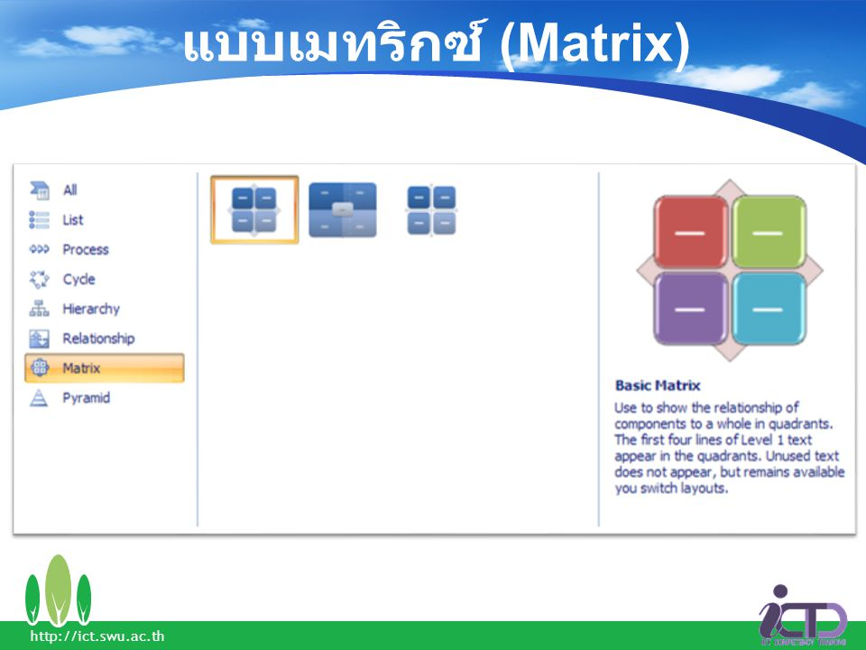 แบบเมทริกซ์ (Matrix) http://ict.swu.ac.th