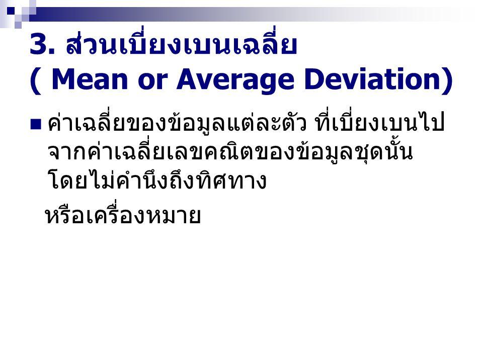 3. ส่วนเบี่ยงเบนเฉลี่ย ( Mean or Average Deviation)