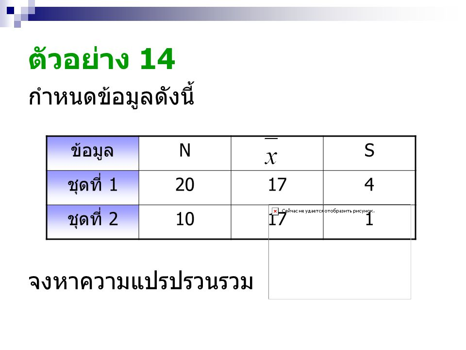 ตัวอย่าง 14 กำหนดข้อมูลดังนี้ จงหาความแปรปรวนรวม ข้อมูล N S ชุดที่ 1