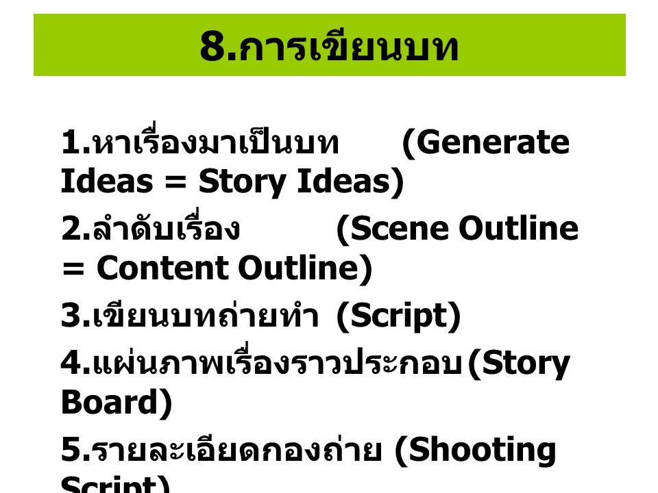 8.การเขียนบท 1.หาเรื่องมาเป็นบท (Generate Ideas = Story Ideas)