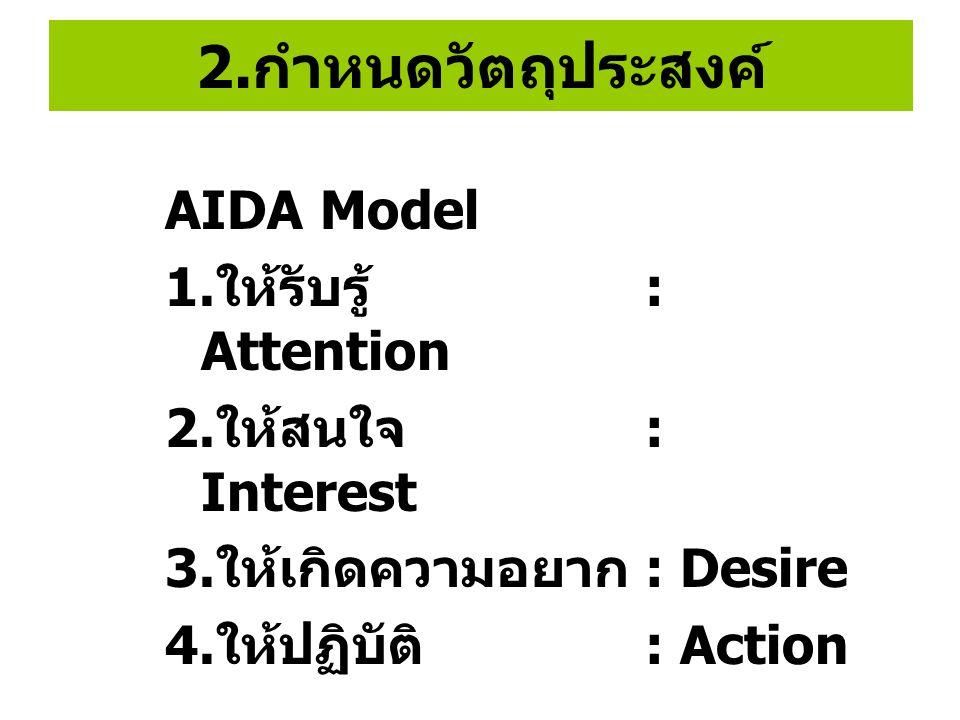 2.กำหนดวัตถุประสงค์ AIDA Model 1.ให้รับรู้ : Attention