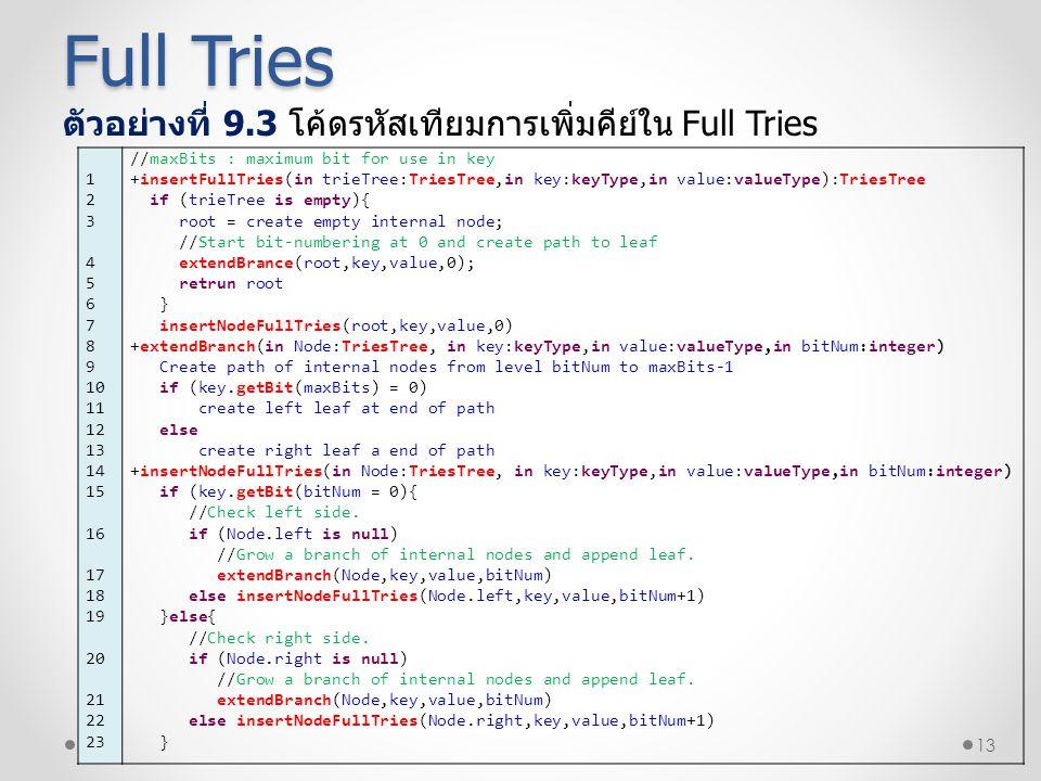 Full Tries ตัวอย่างที่ 9.3 โค้ดรหัสเทียมการเพิ่มคีย์ใน Full Tries 1 2