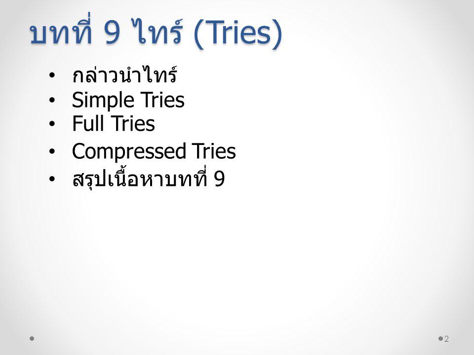 บทที่ 9 ไทร์ (Tries) กล่าวนำไทร์ Simple Tries Full Tries