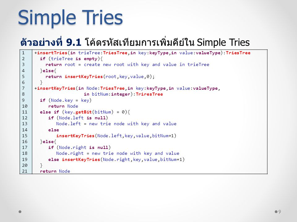 Simple Tries ตัวอย่างที่ 9.1 โค้ดรหัสเทียมการเพิ่มคีย์ใน Simple Tries