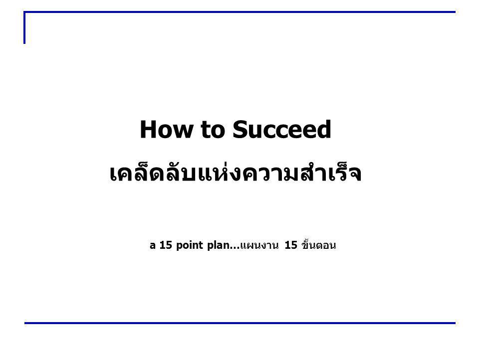 เคล็ดลับแห่งความสำเร็จ a 15 point plan…แผนงาน 15 ขั้นตอน