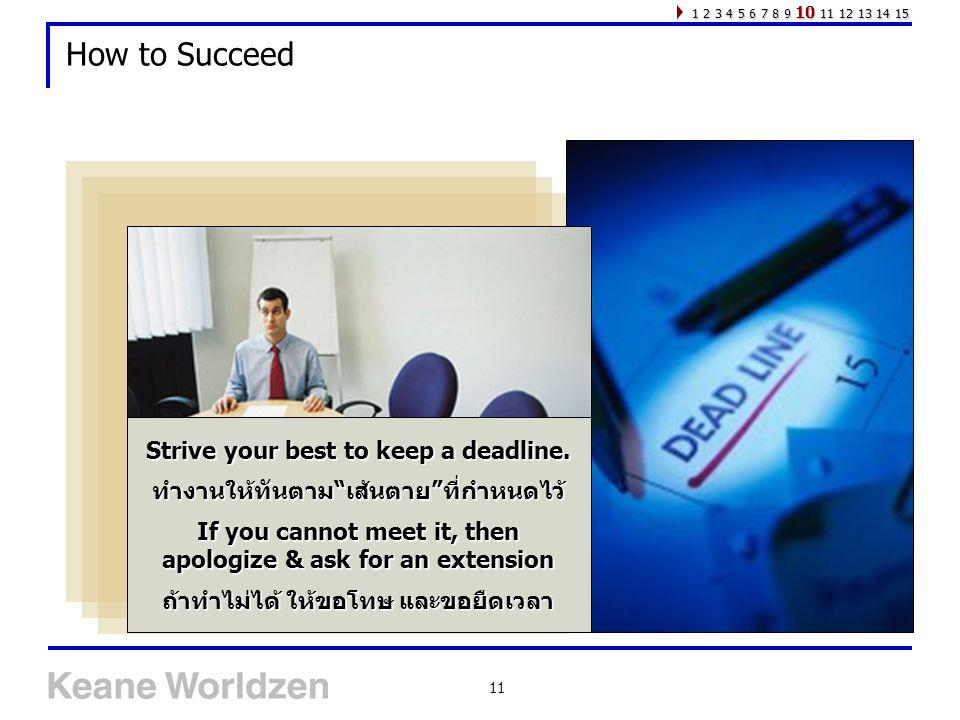 How to Succeed Strive your best to keep a deadline.