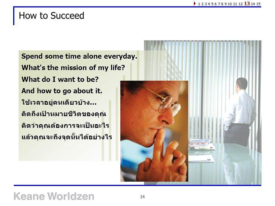 How to Succeed Spend some time alone everyday.