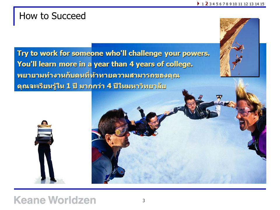 How to Succeed Try to work for someone who ll challenge your powers.