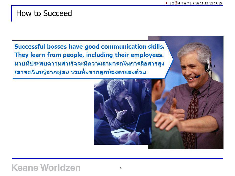 How to Succeed Successful bosses have good communication skills.