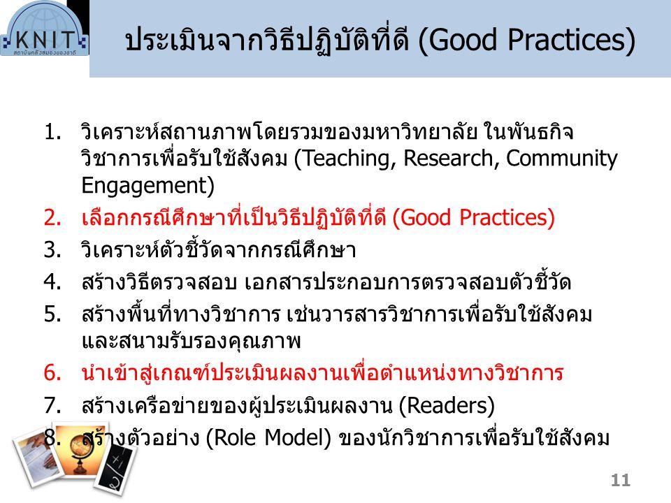 ประเมินจากวิธีปฏิบัติที่ดี (Good Practices)