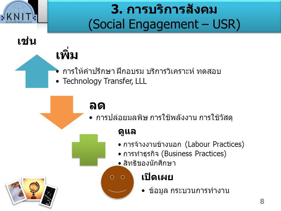 3. การบริการสังคม (Social Engagement – USR)