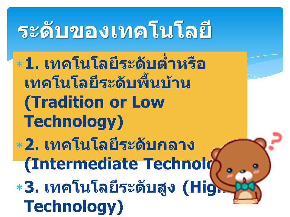 ระดับของเทคโนโลยี 1. เทคโนโลยีระดับต่ำหรือเทคโนโลยีระดับพื้นบ้าน (Tradition or Low Technology) 2. เทคโนโลยีระดับกลาง (Intermediate Technology)