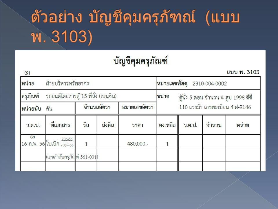ตัวอย่าง บัญชีคุมครุภัฑณ์ (แบบ พ. 3103)