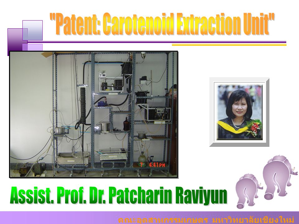 Patent: Carotenoid Extraction Unit