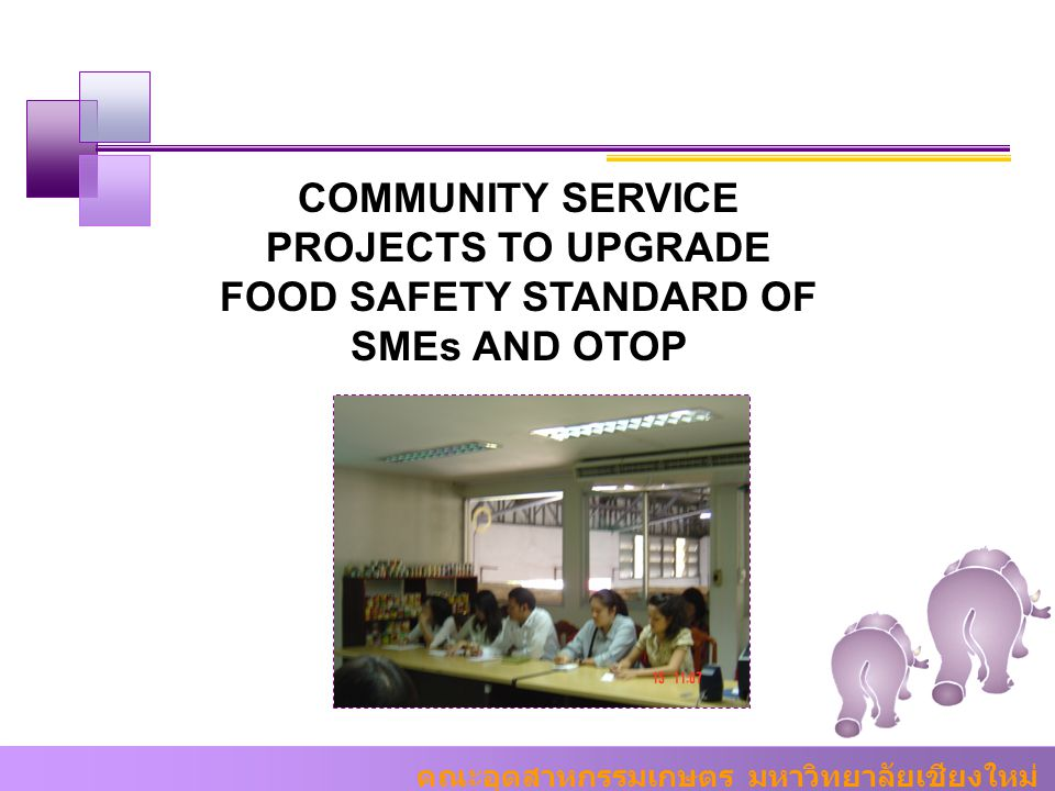 COMMUNITY SERVICE PROJECTS TO UPGRADE FOOD SAFETY STANDARD OF SMEs AND OTOP