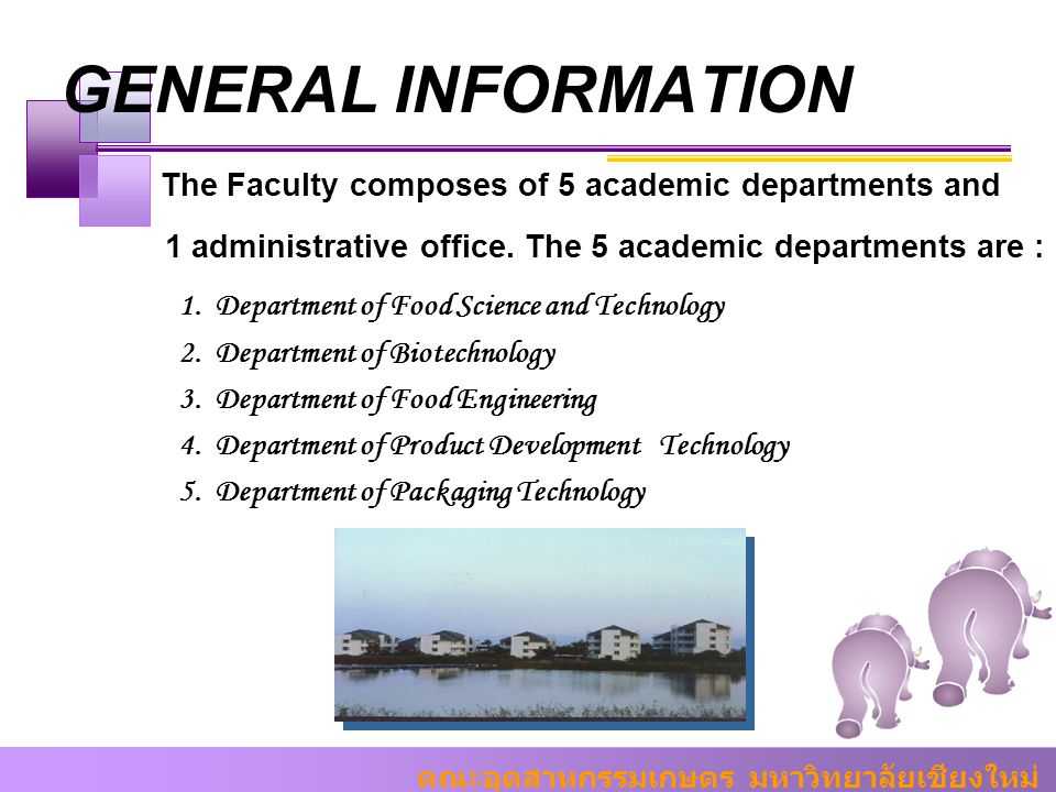 GENERAL INFORMATION The Faculty composes of 5 academic departments and