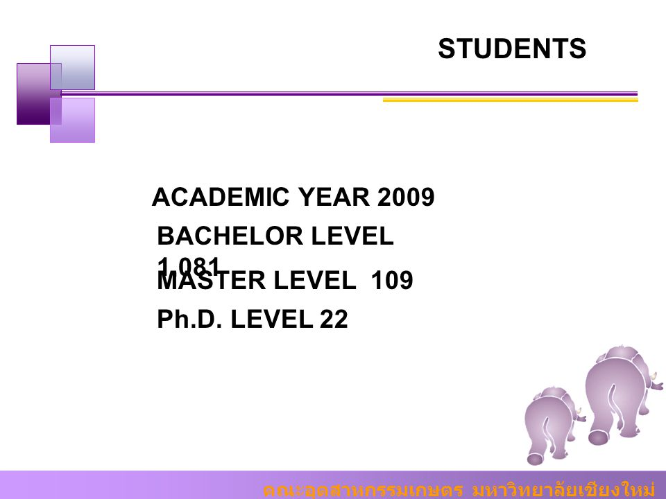 STUDENTS ACADEMIC YEAR 2009 BACHELOR LEVEL 1,081 MASTER LEVEL 109