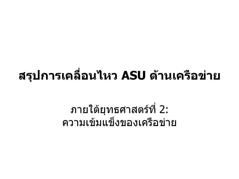 สรุปการเคลื่อนไหว ASU ด้านเครือข่าย