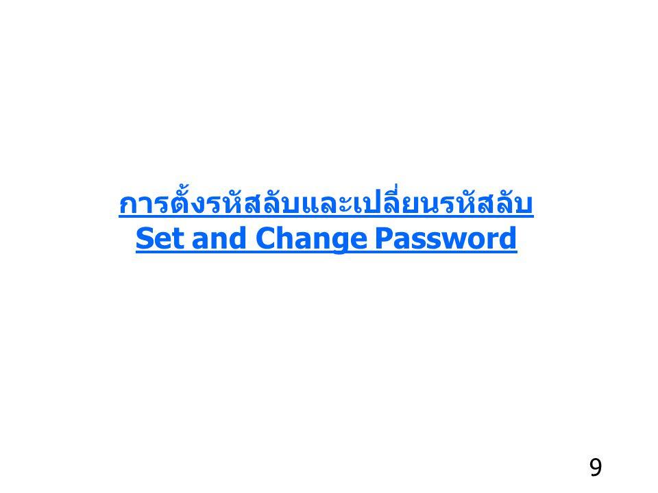 การตั้งรหัสลับและเปลี่ยนรหัสลับ Set and Change Password