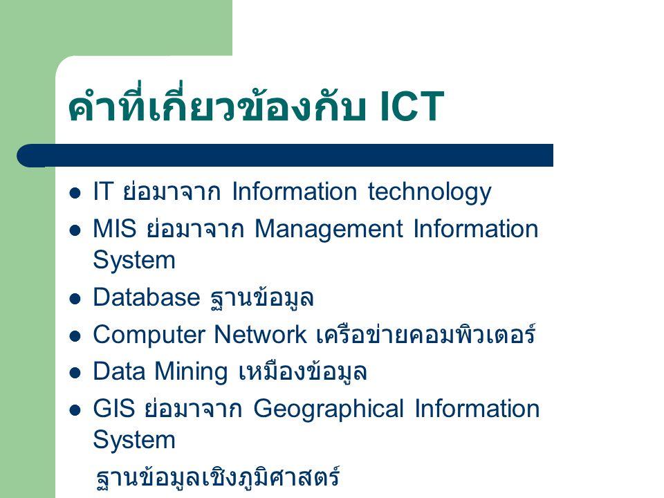 คำที่เกี่ยวข้องกับ ICT