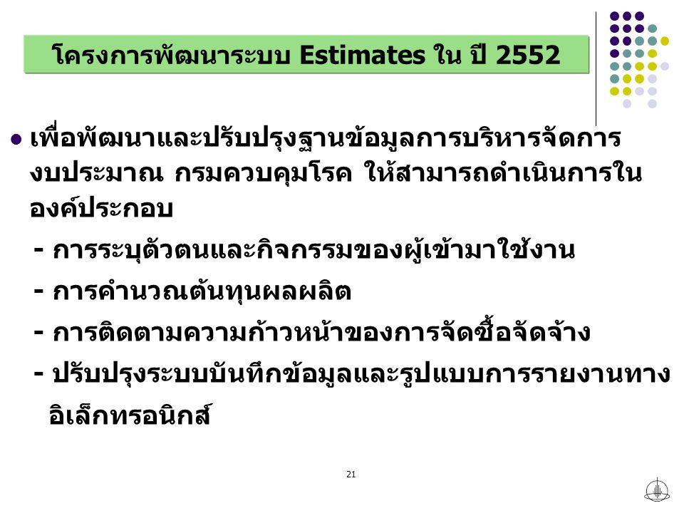 โครงการพัฒนาระบบ Estimates ใน ปี 2552